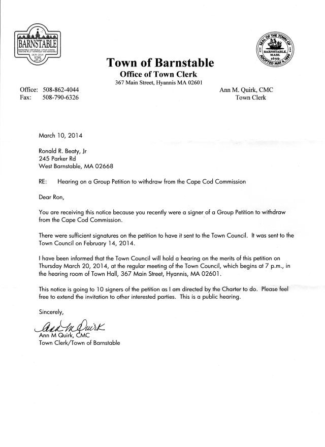 Thursday, March 20th, 7:00 PM, Barnstable Town Council Public Hearing on Cape Cod Commission Withdrawal