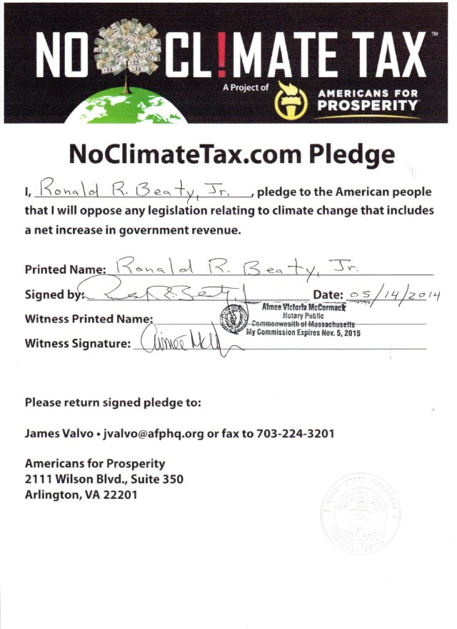 "STATE SENATE CANDIDATE RON BEATY SIGNS ""NO CLIMATE TAX PLEDGE"""