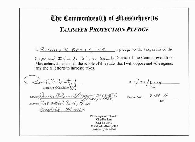Ron Beaty signed CLT Taxpayer Protection Pledge